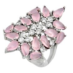 6.58cts natural pink chalcedony topaz 925 sterling silver ring size 5.5 c7195