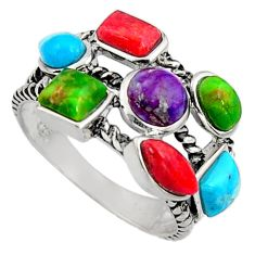 5.63cts southwestern multi color copper turquoise 925 silver ring size 7 c7252