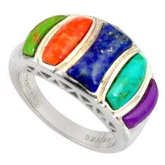 8.02cts southwestern multi color copper turquoise 925 silver ring size 6 c7256