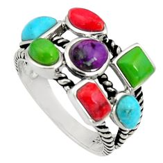 5.87cts southwestern multi color copper turquoise 925 silver ring size 7 c7298