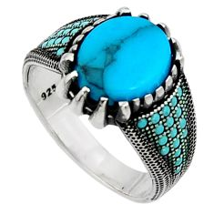 6.32cts fine blue turquoise 925 sterling silver mens ring jewelry size 9.5 c7391