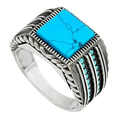 6.47cts fine blue turquoise 925 sterling silver mens ring size 11.5 c7393