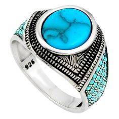 5.62cts fine blue turquoise 925 sterling silver mens ring size 10.5 c7397