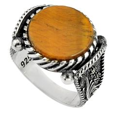 13.85cts natural brown tiger's eye 925 silver mens ring size 11.5 c7403