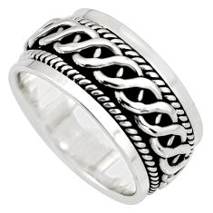 10.48gms meditation wish spinner band bali solid 925 silver ring size 9.5 c7428