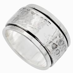 11.69gms meditation wish spinner band bali solid 925 silver ring size 10.5 c7445