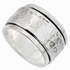 11.24gms meditation wish spinner band bali solid 925 silver ring size 9.5 c7446