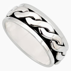 7.69gms meditation wish spinner band bali solid 925 silver ring size 8.5 c7448