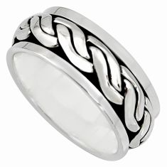 8.06gms meditation wish spinner band bali solid 925 silver ring size 7.5 c7452