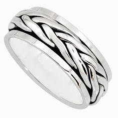 9.89gms meditation wish spinner band bali solid 925 silver \ring size 9 c7458