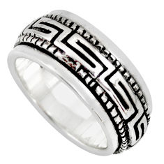 8.67gms meditation wish spinner band bali solid 925 silver \ring size 6.5 c7460