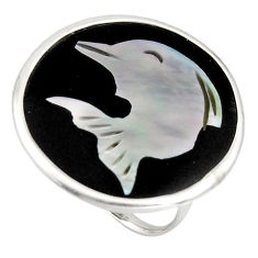 11.73cts natural green cameo on shell silver fish solitaire ring size 7 c7481