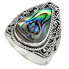 7.38cts natural green abalone paua seashell silver solitaire ring size 9 c7486