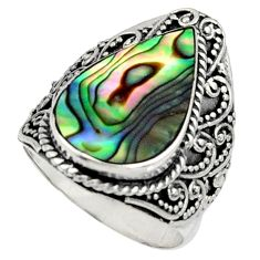 7.43cts natural green abalone paua seashell silver solitaire ring size 7 c7488