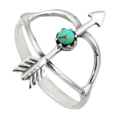 0.27cts green arizona mohave turquoise 925 silver bow charm ring size 8 c7501