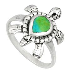 4.02gms green arizona mohave turquoise 925 silver tortoise ring size 8 c7506
