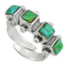 3.41cts green arizona mohave turquoise 925 silver adjustable ring size 6 c7507