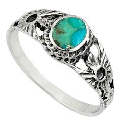925 silver 2.26gms green arizona mohave turquoise enamel ring size 7.5 c7508