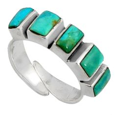 4.84cts green arizona mohave turquoise 925 silver adjustable ring size 6.5 c7519