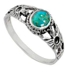 2.04gms green arizona mohave turquoise enamel 925 silver ring size 7.5 c7522