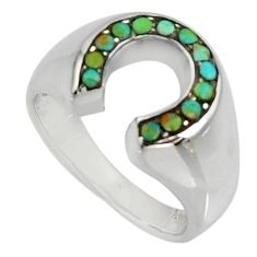 0.65cts green arizona mohave turquoise 925 sterling silver ring size 5.5 c7531