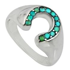 0.69cts green arizona mohave turquoise 925 sterling silver ring size 8.5 c7533