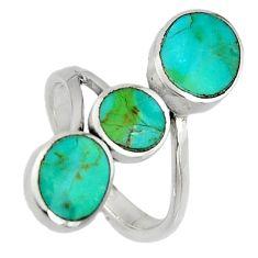 925 silver 4.25gms green arizona mohave turquoise enamel ring size 7.5 c7540