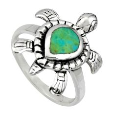 4.02gms green arizona mohave turquoise 925 silver tortoise ring size 6 c7553