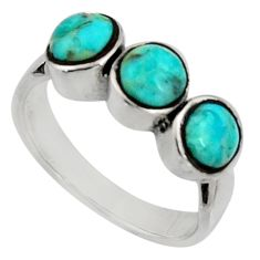 3.28cts green arizona mohave turquoise 925 sterling silver ring size 8 c7561