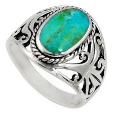 5.69gms green arizona mohave turquoise enamel 925 silver ring size 7.5 c7562