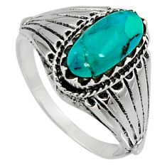 925 silver 2.77cts green arizona mohave turquoise solitaire ring size 9.5 c7568