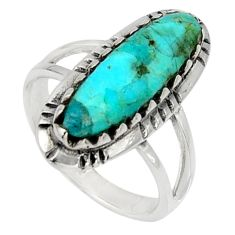925 silver 4.22cts green arizona mohave turquoise solitaire ring size 6.5 c7570