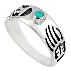 925 silver 4.48gms green arizona mohave turquoise enamel ring size 10.5 c7576