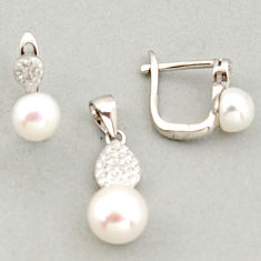 6.83cts natural white pearl topaz 925 sterling silver pendant earrings set c6381
