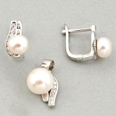 925 sterling silver 7.60cts natural white pearl topaz pendant earrings set c6384