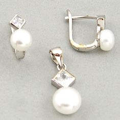 7.24cts natural white pearl topaz 925 sterling silver pendant earrings set c6385