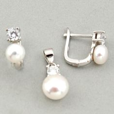 925 sterling silver 7.60cts natural white pearl topaz pendant earrings set c6391