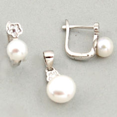 925 sterling silver 6.61cts natural white pearl topaz pendant earrings set c6394