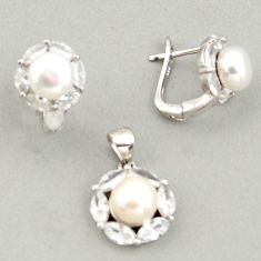 12.64cts natural white pearl topaz 925 silver pendant earrings set c6396