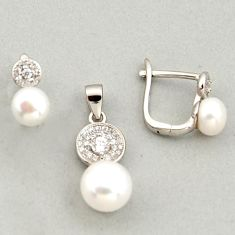9.18cts natural white pearl topaz 925 sterling silver pendant earrings set c6398
