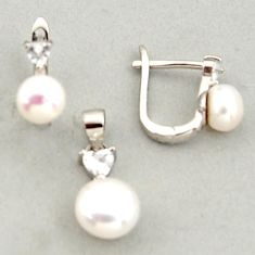 6.21cts natural white pearl topaz 925 sterling silver pendant earrings set c6399