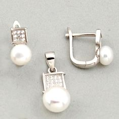 925 sterling silver 7.21cts natural white pearl topaz pendant earrings set c6400