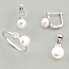 7.89cts natural white pearl 925 silver pendant ring earrings set c6421