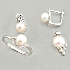 925 silver 8.44cts natural white pearl round pendant ring earrings set c6424