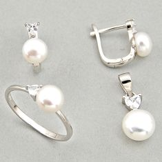 7.54cts natural white pearl 925 silver pendant ring earrings set c6425