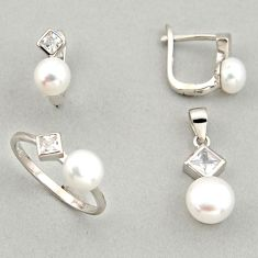 8.54cts natural white pearl 925 silver pendant ring earrings set c6426