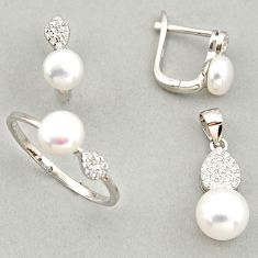 7.89cts natural white pearl 925 silver pendant ring earrings set c6427