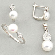 7.89cts natural white pearl 925 silver pendant ring earrings set c6429