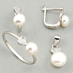 925 silver 7.89cts natural white pearl round pendant ring earrings set c6431