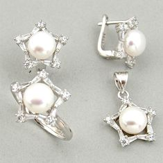 14.43cts natural white pearl 925 silver pendant ring earrings set c6434